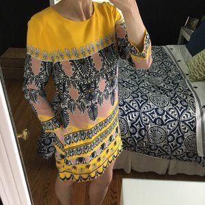 J. Crew Yellow Printed Silk Longsleeve Jules Dress